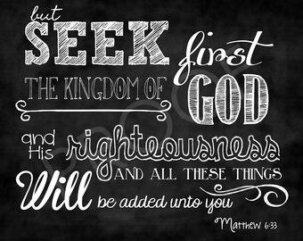 Scripture Art - Matthew 6:33 Chalkboard