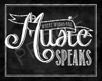 Chalk Typography - Where Words Fail Music Speaks