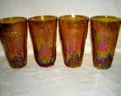 Vintage Indiana harvest carnival glass set of four