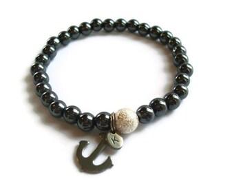 Nautical Anchor Personalized Hematite Beaded Stretch Bracelet