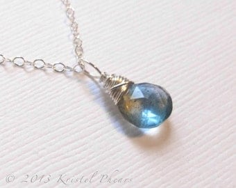 Aquamarine Necklace - Silver or 14k Gold-Filled moss aqua teal natural gemstone sterling dangle March birthstone Gift