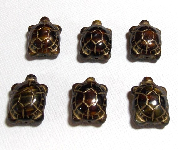 Brown with Gold Inlay Turtles 19x14mm, 6 Pieces Czech Glass, Item 583
