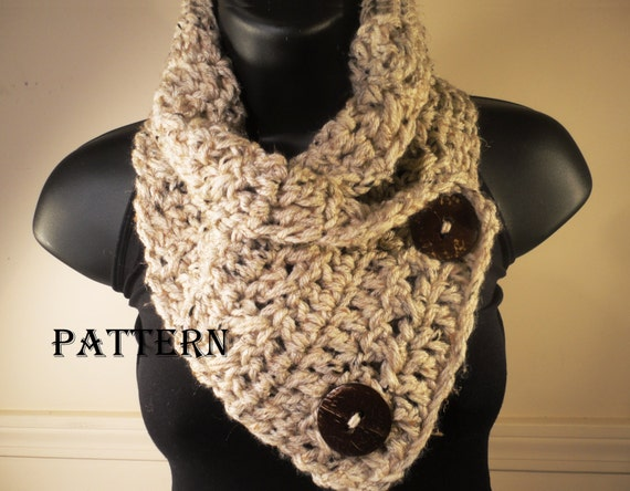 Crochet Pattern For Infinity Scarf With Buttons : Crochet Pattern Scarf Cowl Neckwarmer with by VillaYarnDesigns