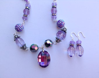 Lavender Statement Necklace-Purple Statement Necklace-Chunky Necklace-One of a Kind Original-Designs by Stalinda