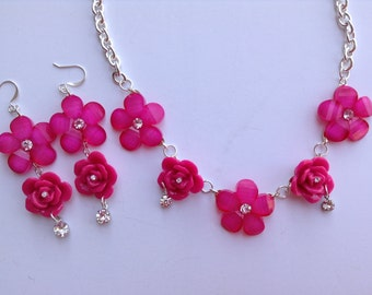 Pink Flower Necklace-Rose Necklace-Statement Necklace-Prom-Spring-Easter-One of a Kind Original-Designs by Stalinda
