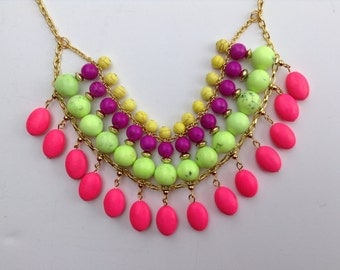Neon Bib Necklace-Statement Necklace-Chunky-Big-Bold-One of a Kind-Hand Made-Designs by Stalinda