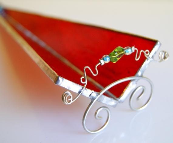Glass Incense Burner Stick Holder Sled Red Stained Glass
