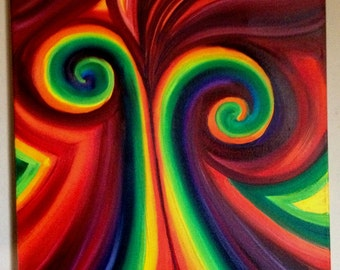 "FREE SHIPPING- Original Art - Oil Painting - Abstract Swirls -  Bright Rainbow Swirls - 18"" x 24"" Canvas - ""Sweet"""