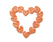 Orange Hearts - Peach Crochet Heart Applique - Tangerine Embellishments - Wedding Decor - Scrapbook - Set of 15