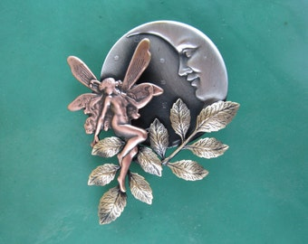 Moonlit Fairy Brooch- Fairy Garden- Fairy Jewelry- Garden Fairy