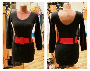 1980s Black Body Con Mini Drop Waist Long Sleeve Party Dress Cocktail Dress Little Black Dress