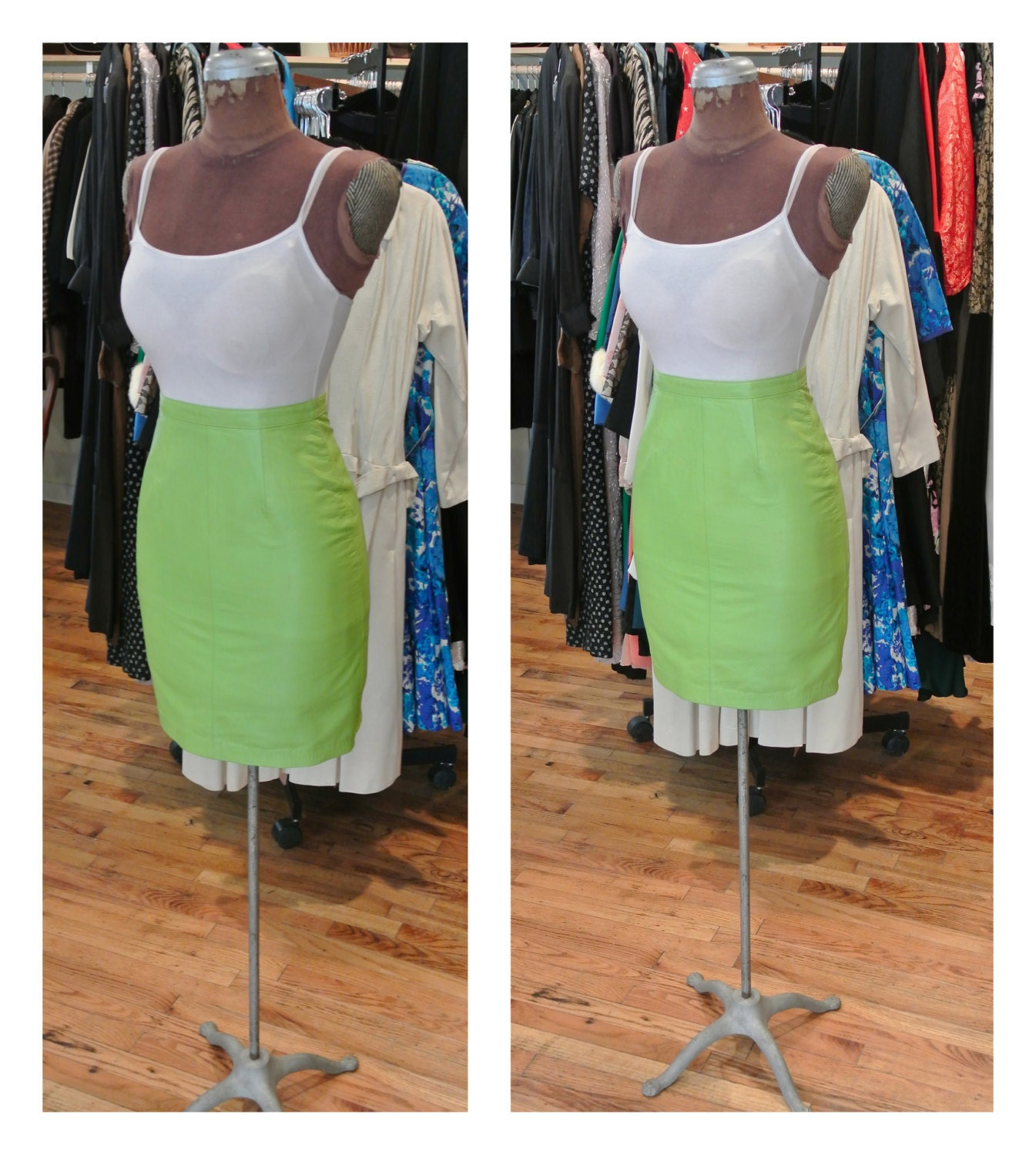 1980s leather mini skirt high waisted neon green leather skirt