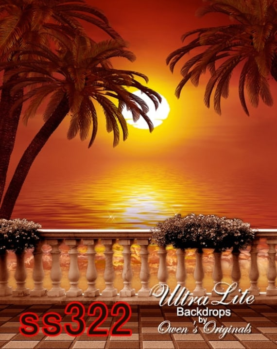 Photography Backdrop Spring Golden Tropical Sunset With