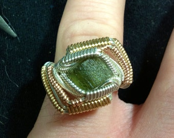 Moldavite Sterling Silver Ring Size 7