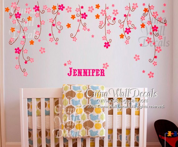 nursery wall decal baby girl with name wall sticker flower by cuma. Black Bedroom Furniture Sets. Home Design Ideas