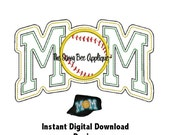 DD SOFTBALL MOM Open Edge Applique - Machine Embroidery - 5x7 or 9x7 Hoop - Instant Download - Great For Cadet Hats or Totes