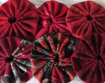 Yo yos 30 1 1/2  inch assorted  shades of  Red Fabric YO YOS