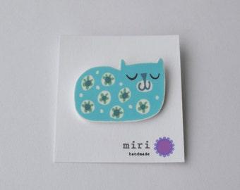 Cat Pin Brooch in Aqua and Mint Green