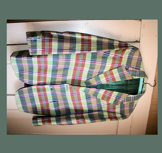 Preppy 70 S Men S Green Madras Plaid Blazer M