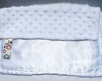 Baby Cuddle Blanket - White Minky Dot and Satin with Ribbon Tag - White OR CUSTOM
