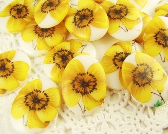 18x13mm Sunflower Yellow Flower Cabochons Vintage Oval Glass - 2
