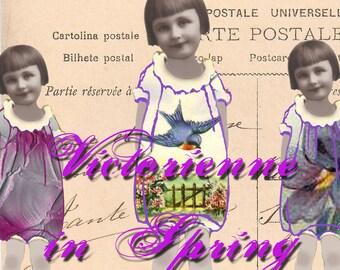 Digital Paper Doll - Victorienne in Spring - Instant Download