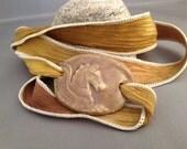 Silk Ribbon Wrap Ceramic Horse Bracelet, OOAK, Dijon Mustard Yellow Ribbon and Cafe au lait, Toffee Pottery  RB-509