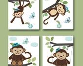 Baby Nursery Decor Monkey Nursery Baby Boy Nursery Art Print Children Wall Art Baby Room Decor Kids Print set of 4 8x10 Monkey Blue Green