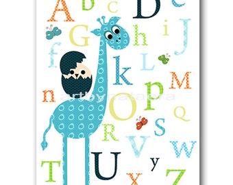 Giraffe Children Art Kid Wall Art Baby Boy Nursery Baby Room Decor Baby Nursery Decor Nursery Print Blue Green Nursery Alphabet Nursery