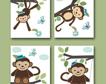 Baby Nursery Decor Monkey Nursery Baby Boy Nursery Art Print Children Wall Art Baby Room Decor Kids Print set of 4 Monkey Blue Green