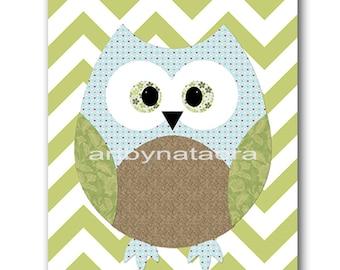 Owl Decor Owl Nursery Baby Boy Nursery Art Nursery Wall Art Baby Nursery Kids Room Decor Kids Art Boy Print Owl Nursery Blue Green