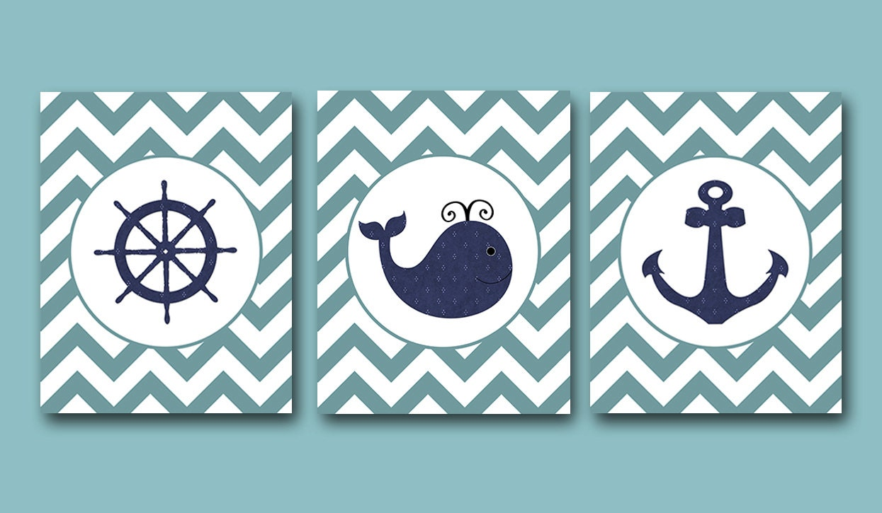 Sea Whale Nautical Baby Boy Nursery Art Print Children Wall