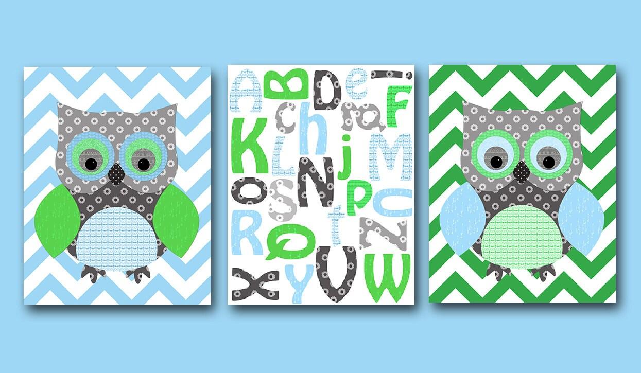 Owl decor alphabet nursery baby boy nursery art nursery wall for Alphabet mural nursery