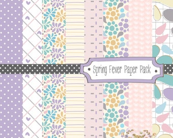 Spring Fever Digital Paper Pack - Purples and Greys - Instant Download - for scrapbooking, cardmaking, personal and small commercial use