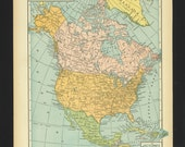 Vintage Map North America From 1930 Original