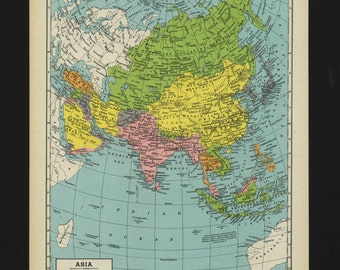 Vintage Map of Asia From 1944 Original