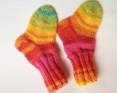 Multi-coloured Baby Socks Hand Knit, Newborn socks, Infant, Baby booties. 0- 4 months.