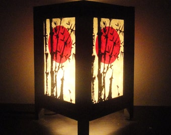 Asian Oriental Sunset Bamboo Zen Art Bedside Floor Table Lamp Desk Paper Light Shades Gift Living Bedroom Furniture Home Decor