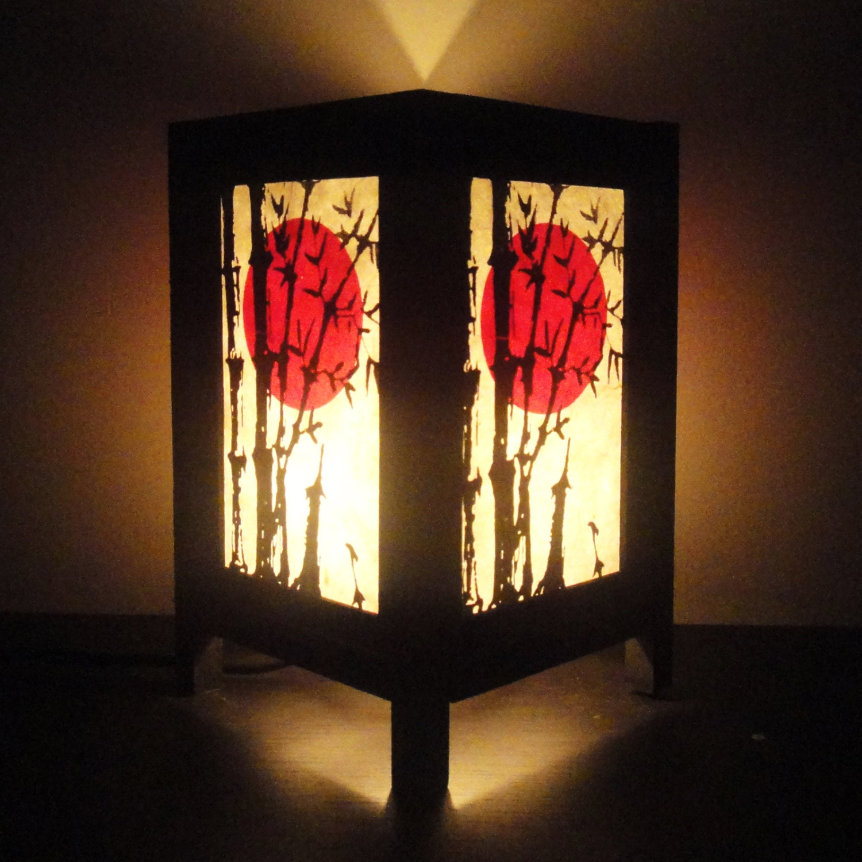 Asian Oriental Sunset Bamboo Zen Art Bedside Floor Table Lamp