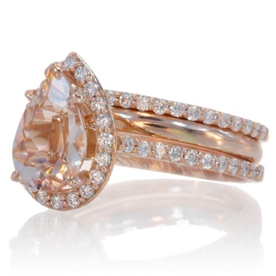 bridal set two stacking bands 14k rose gold pear cut shape diamond halo morganite engagement solitaire - Pear Shaped Wedding Ring Sets