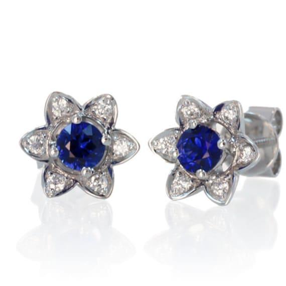 Sapphire Flower Pedal Stud Earrings Something Blue Wedding Jewelry Anniversary Gift
