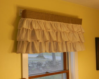 "Ruffled Burlap valance with muslin ruffles.Measures40""x16"""