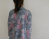 80s/90s HIP Grey and Pink Floral Sweatshirt