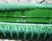 Vintage Green Drip USA Pottery Planter MINT