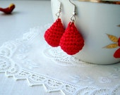 Red earrings Dangle cotton earrings Gift for her Earrings handmade Drop earrings Romantic classic