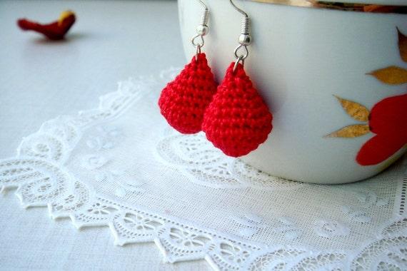 Red earrings Dangle cotton earrings Gift for her Earrings handmade Drop earrings Romantic classic