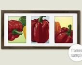 Bell Peppers Kitchen Art  - archival, original illustration, wall art, red, green, orange, food, vegetable