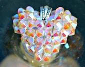 Shades of Sparkle Charm, Handmade Jewelry, Sparkle and Shine Heart, Swarovski Crystal Floating Necklace, Shiny Gray Opal Crystal Pendant