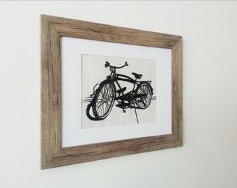 Bicycle- Framed Linogravure