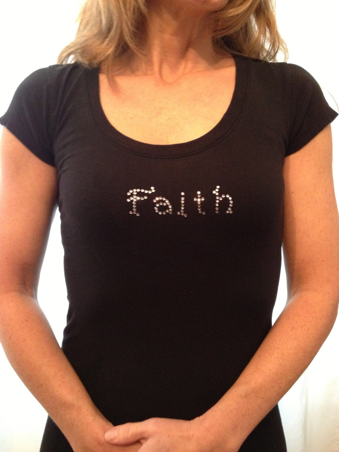 custom t shirt faith shirt rhinestone tee by faithhopeinspire. Black Bedroom Furniture Sets. Home Design Ideas